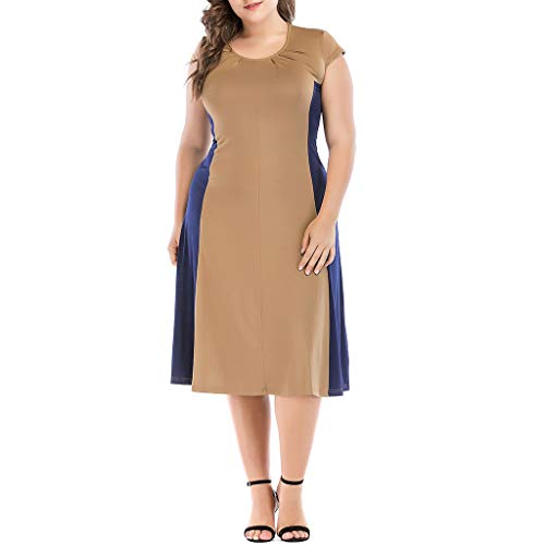 UYSDF Fashion Kleidung Groß Größe Damen Beiläufig Nähen Kurze Ärmel Kleid Abend Party - 80er Jahre Pin Up Girl Kostüm