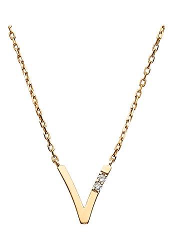 CHRIST-Diamonds-Damen-Kette-333er-Gelbgold-2-Brillanten-zus-ca-002-ct-gold-One-Size