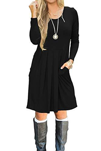 Bequemer Laden Damen Rundhals Kleid Beiläufiges Langarm Minikleid T-Shirt Kleid Mit Taschen Schwarz S