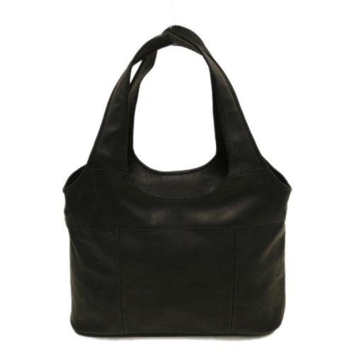 Piel Leather Laptop-Hobo-Tasche in Schwarz, Einheitsgröße (Tasche Piel Schwarz)