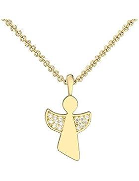 Engelanhänger Engel Kette Gold hochwertig vergoldet Zirkonia Schutzengel Anhänger Engelanhänger inkl. Luxus-Etui...