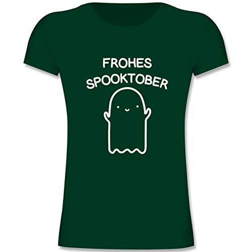 ohes Spooktober Halloween - 164 (14-15 Jahre) - Tannengrün - F131K - Mädchen Kinder T-Shirt ()