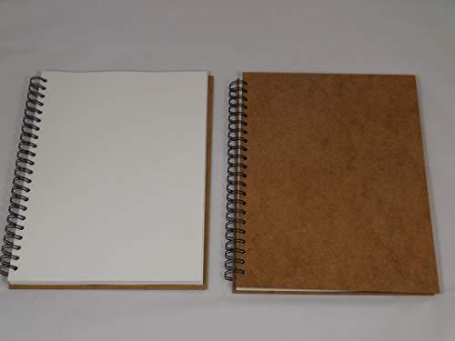 Landscape - Papel de espiral reciclado A3 de 170 g/m², 80 páginas, bloc de dibujo o arte A3 Cream paper