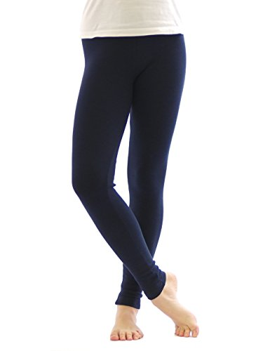 Thermo Leggings leggins Hose lang aus Baumwolle Fleece warm dick weich dunkelblau L (Thermo Baumwolle Leggings)
