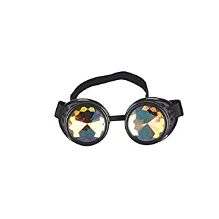 AFUT Cosplay Goggles,Rave Kaleidoscope Costume Goggles Rainbow Glasses Prism Diffraction Crystal