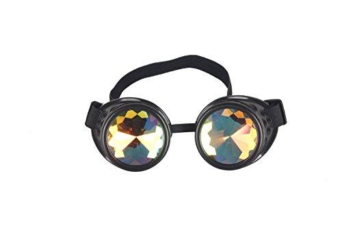 AFUT Steampunk-Brille, leuchtend, Kaleidoskop-Brille, Punk, Gothic, Cosplay, mit Fernbedienung, Schwarz , Style 1
