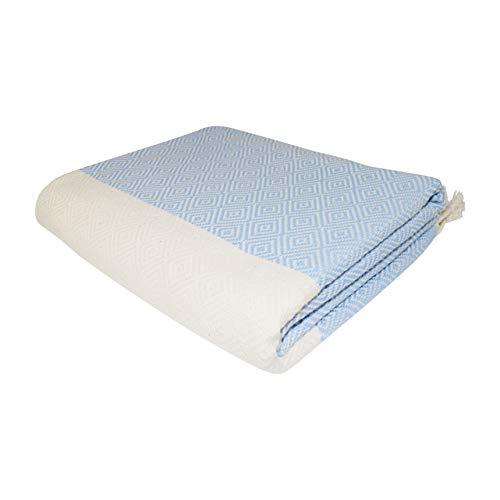 SCN Premium Hamamtuch, Saunatuch, Pestemal, Fouta, Handtuch (Raute) hergestellt aus 100% Reiner türkischer Baumwolle 100x180cm (hellblau) - Handtuch Hamam