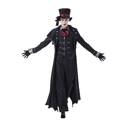 Kostüm Wasser Dämon - Lbellay Vampir Dämon Cosplay Kostüm Halloween Paar Cosplay Kostüm Britisches Dunkles Gentleman Bühnenkostüm,Man-XL