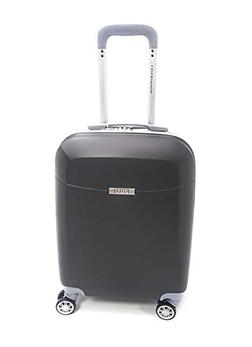 Valigia Trolley Rigido Bagaglio a Mano Cabina Voli Low Cost Easyjet Rayanair (Antracite)