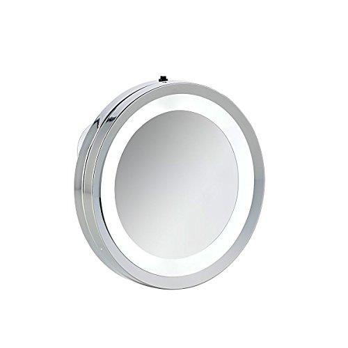 axentia Spiegel Silber - Wandspiegel mit Saugnapf - Badspiegel beleuchtet mit LED - Badezimmerspiegel rund - Schmink- und Kosmetikspiegel fürs Bad, 15 x 15 x 2 cm