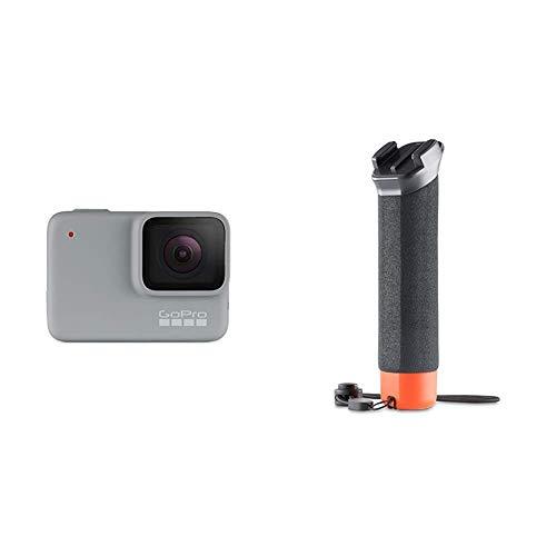 GoPro HERO7 White - Cámara de acción digital sumergible con pantalla táctil, vídeo HD 1440p y fotos de 10 MP, blanco + Empuñadura flotante, negro