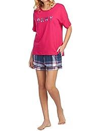 8f2710ef908e DKNY Women's Ladies Blue Plaid Pink Top Shorts Pyjama Set Blue Plaid Eye  Mask Boxed Gift