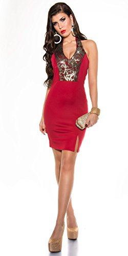 Sexy Neck-Kleid mit Pailetten Koucla by In-Stylefashion SKU 0000K187601 Rot