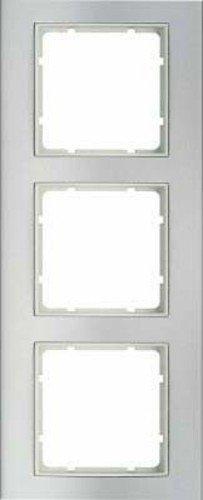 Weißer Aluminium-rahmen (Berker-Rahmen 3Elemente B3Aluminium/weiß Polar Ref. 6511510003)