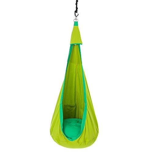 Umi Jujuu Hängehöhle für Kinder aus Biobaumwolle   die eingebaute Lichtquelle schont die Augen   breites Sitzkissen   sichere und robuste Befestigung mit Drehwirbel   green grashopper
