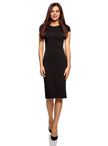 oodji Collection Mujer Vestido Midi con Escote en la Espalda, Negro, ES 36 / XS