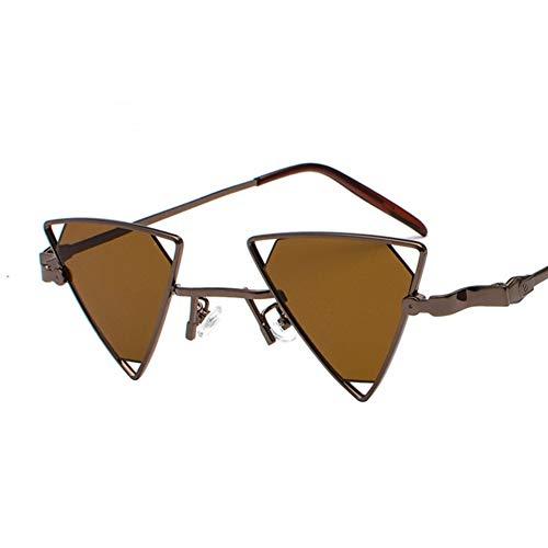 BCD Damen-Sonnenbrille Dreieck Hohlmetall-Punk-Wind Eine Piece Farbe transparente Sonnenbrille Männer und Frauen Modelle uv400,12