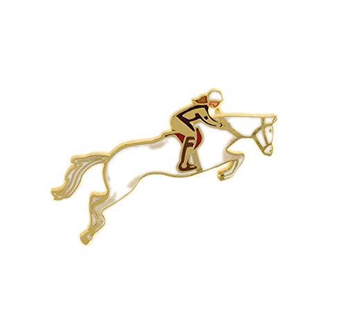 Behave Damen Damenbroschen mit Pferd aus Emaille - weiß - 5cm Größe (Pferd Steht Pin)