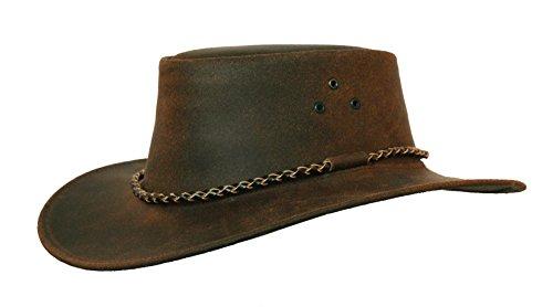 Kakadu Lederhut Echuca in braun mit geschwungener Krempe und Rundkordel-Hutband | Herren Damen Größe M | 2. Wahl