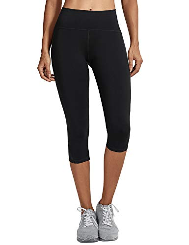 CRZ YOGA Femme Legging de Sport Capri Pantalons Running Taille Haut avec Poche Noir XS(38)