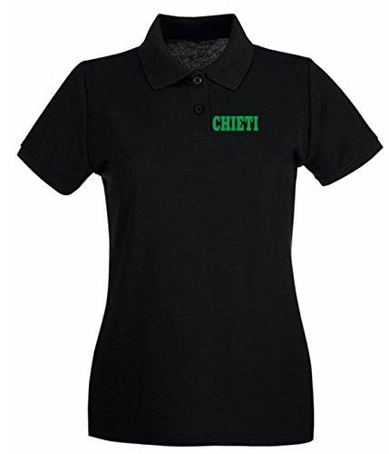 Cotton Island - Polo pour femme WC0888 CHIETI ITALIA CITTA STEMMA LOGO Noir