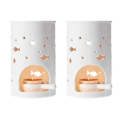 ComSaf Quemador Aceites Esenciales con Cuchara de Vela - Blanca Paquete de 2, Ceramica Quemadores de Aceites Esenciales Decorativos de Velas Cabeza para Yoga SPA Habitación Decoración