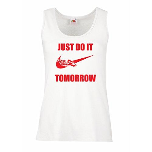 lepni.me Femme Débardeur sans Manche Jus Faire Demain - Être Différent, T-Shirt Drôle, Fruit Of The Loom, Cadeau Drôle Blanc Rouge