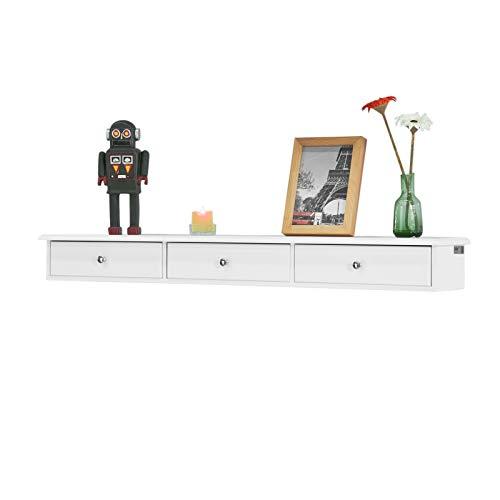 SoBuy® FRG43-L-W Wandschrank mit 3 Schubladen Hängeschrank Badezimmerschrank Wandregal Wandgarderobe weiß BHT ca: 93x10x15cm