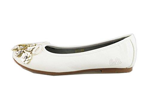 scarpe bambina LULU' ballerine argento / bianco tela (EU 34, Bianco)