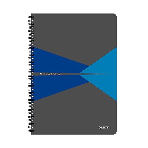 Leitz 46470035 Blocco per Appunti a Quadretti, Formato A4, Spiralato, Copertina in Carta Plastificata, Blu