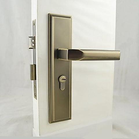 ZQQ antigua cerradura de la puerta de latón, bloqueo de la palanca, con manillas, palanca de la puerta con 3
