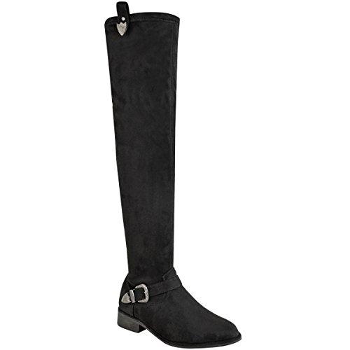 Mode Soif Femme Au-dessus Du Genou Low Bottes D'équitation Aderent, High Wide Leg Taille De La Boucle Black Suede