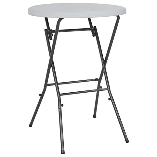 Festnight- Table de Bar Pliable Table de Jardin Table d'Extérieur pour Terrasse Rond Blanc 80 x 110 cm