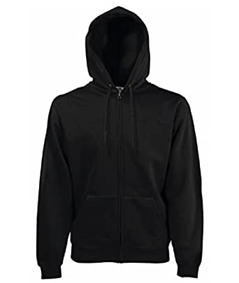 "FRUIT OF THE LOOM FULL ZIP HOODED SWEAT - 9 COLOURS (LARGE 42/44"", BLACK)"