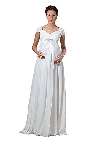 Beonddress Damen Chiffon Abendkleider Brautkleid Elegant Hochzeitskleider Cap Sleeve Mutterschaft Brautkleid für Schwangere(Elfenbein,46)