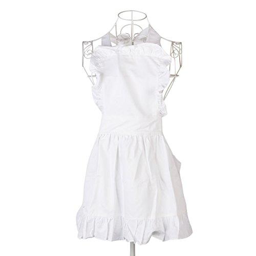 Preisvergleich Produktbild UEETEK Frauen Schürze,Süße Modische Frauen Mädchen Baumwolle Schürze Arbeitsschürze für Kochen Backen, Weiß, 60 * 50 CM