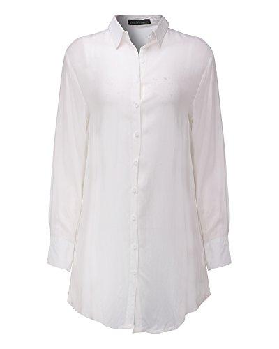StyleDome Damen Asymmetrisch Langarm Boho Longshirt Tunika Casual Lose Hemdkleid Weiß