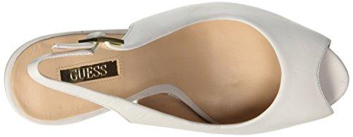 Guess Lea05, Chaussures à Talons Compensés Femme Blanc Cassé - blanc