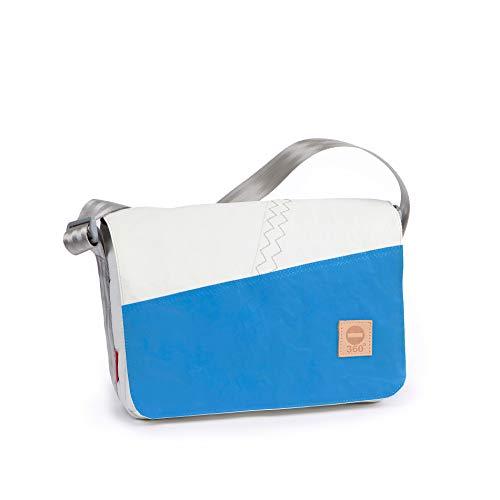 360° Barkasse Mini Segeltuchtasche, Recycling Laptoptasche bis 13'' Zoll, Umhängetasche weiß, Balken Cyan Crossover, Messengerbag
