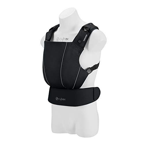 CYBEX Gold MAIRA.click Ergonomic Baby Carrier, From birth to approx. 2 years (approx. 3.5 - 15 kg), 100% Cotton, Lavastone Black