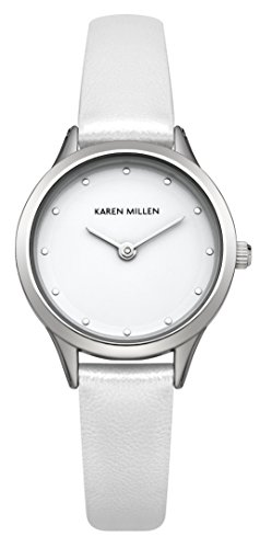 Karen Millen - Orologio Analogico da Polso, Donna, Cinturino in PU, Bianco