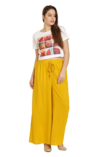 Goldstroms Minelli Women's Free Size Solid Cotton Rayon Palazzo Pant (Gold Yellow)