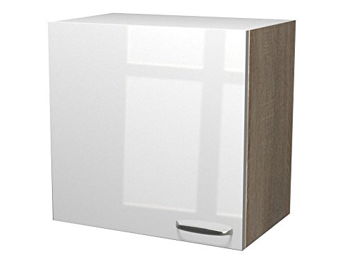 Flex-Well Exclusiv Oberschrank Valero 60 cm x 55 cm Hochglanz Weiß-Sonoma Eiche