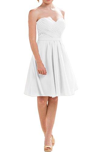 Milano Bride Damen Zaertlich Herzform Spitze Abenkleider Heimkehrkleider Cocktailkleider Kleider Kurz Mini Weiß