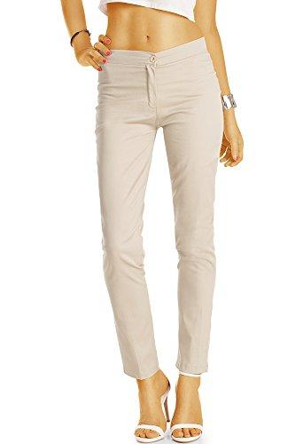 Bestyledberlin Damen Chino, Normal Waist Slim Fit Hose, Basic Stretch Stoffhose j55f 38/M beige