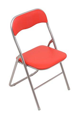 Set - 6x Klappstuhl mit Metallrahmen und Kunstlederbezug - silber-rot - Brandneu