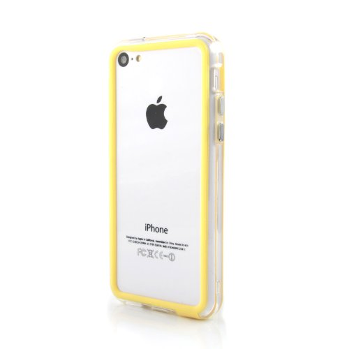 """iPhone 5C Case """"Bumper"""" - Schutzhülle für den Rand aus PE mit weichen Kanten aus Silikon in schwarz gelb"""