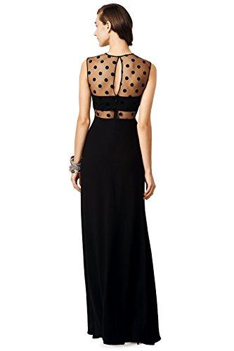 ANNN Femelle Point de Vague Noire Sans Manches en Mousseline de Sexy Robe de Soirée Longue Noir