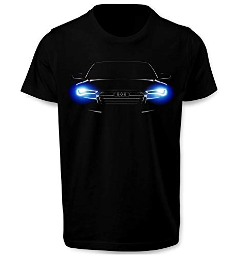 Lulchev Design - Angel Eyes Xenon Logo T Shirt S Line Design RS Sport Quattro Top Auto Fanartikel Fun Design Herren Tshirt Prime Quality Kurzarm (Schwarz, XL)