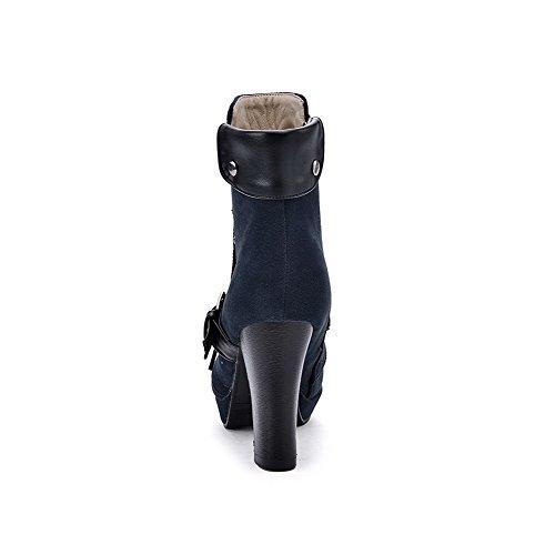 VogueZone009 Donna Bassa Altezza Puro Cerniera Punta Tonda Tacco Alto Stivali con Nodo Azzurro